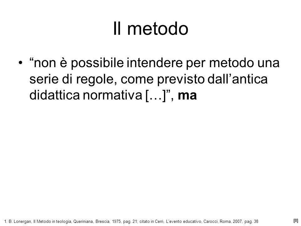 Il metodo non è possibile intendere per metodo una serie di regole, come previsto dall'antica didattica normativa […] , ma.
